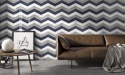 Яркий дизайн стен с плиткой в форме шеврон
