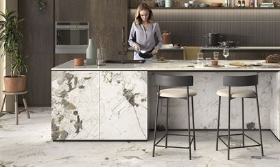 Новая интерпретация белого мрамора в керамограните коллекции The Room