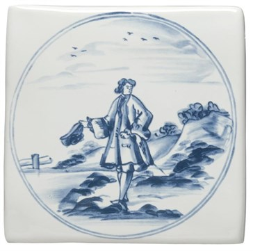 W.DE1510 Декор Delft Figures in a Landscape Man with Hat 12,7x12,7