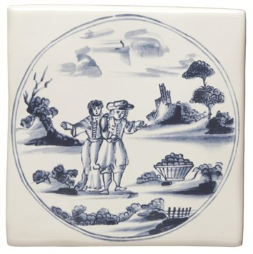 W.DE1511 Декор Delft Figures in a Landscape Couple with Basket 12,7x12,7