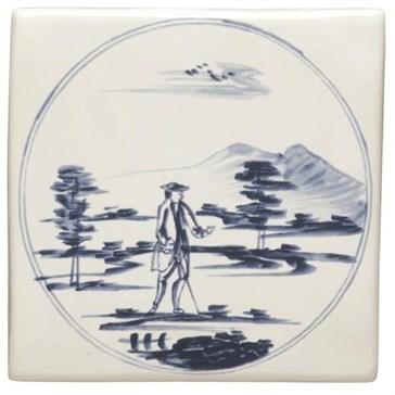 W.DE1513 Декор Delft Figures in a Landscape Man with Stick 12,7x12,7