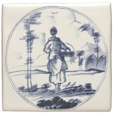 W.DE1515 Декор Delft Figures in a Landscape Woman with Basket 12,7x12,7