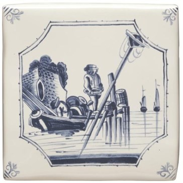 W.DE1517HP Декор Delft River Scenes Fisherman 12,7x12,7