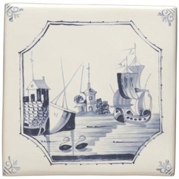 W.DE1518HP Декор Delft River Scenes Ship and Island 12,7x12,7