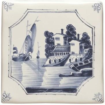 W.DE1519HP Декор Delft River Scenes Ship and House 12,7x12,7