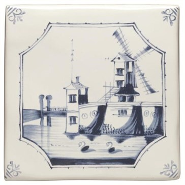 W.DE1521HP Декор Delft River Scenes Windmill 12,7x12,7