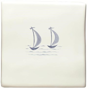 W.DE1530HP Декор Hand Painted Delft Boats Mary & Gail of St Ives 12,7x12,7