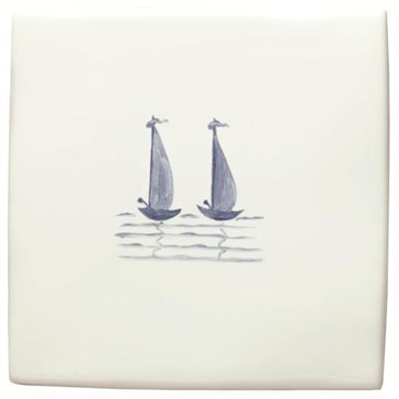 W.DE1531HP Декор Hand Painted Delft Boats Grace & Anne of Liverpool 12,7x12,7