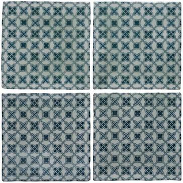 W.2809 Плитка Ormeaux on Blue on Mint 130x130