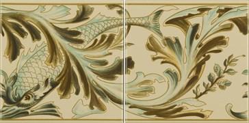 6990B Fish Frieze 2 tiles set 15,2x15,2