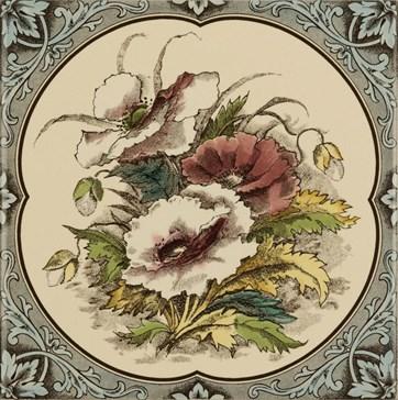 6010B Poppies, floral border 15,2x15,2