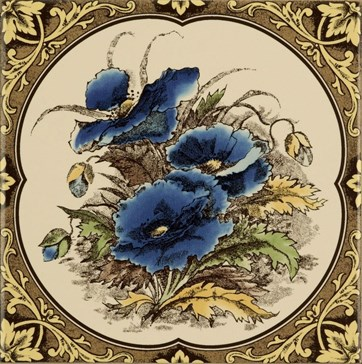 6018B Blue Poppies, floral border 15,2x15,2