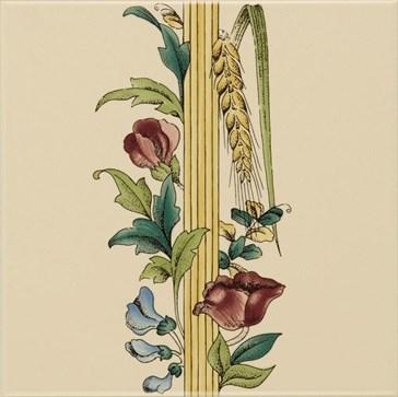 6028B Poppy&Wheatsheaf border tile (with wheat) 15,2x15,2