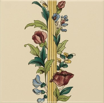 6029B Poppy&Wheatsheaf border tile (no wheat) 15,2x15,2
