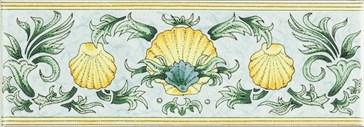 6380A Scallop Shells blue&yellow 15,2x5