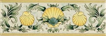 6380B Scallop Shells blue&yellow 15,2x5