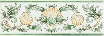6381A Scallop Shells green&buff 15,2x5