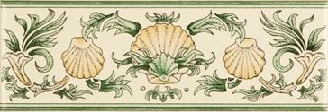 6381B Scallop Shells green&buff 15,2x5