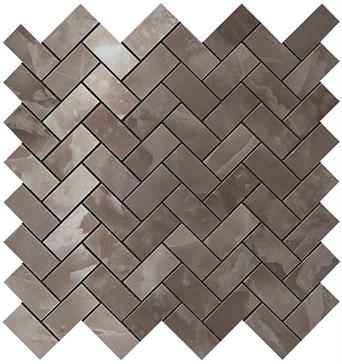 Black Agate Herringbone Mosaic / Блэк Агате Хэрринбоун Мозаика 30,5x30,5