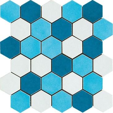 Mos. Esagona Mix Azzurro 27x27