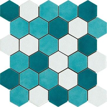 Mos. Esagona Mix Verde 27x27